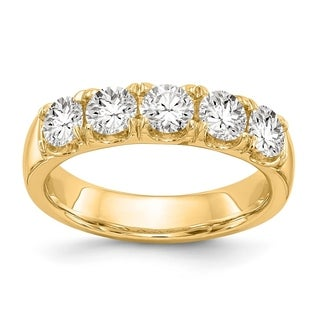 Versil 14 Karat Yellow Gold 1.00ct. 5 Stone Colorless Pure Light Moissanite Band (5 options available)
