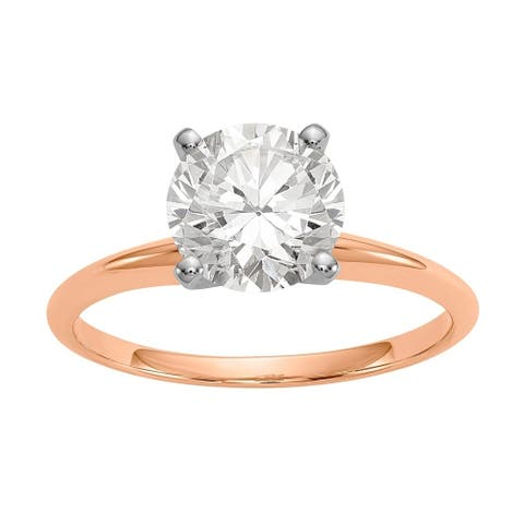 Moissanite 14K Rose Gold 1.75ct. 7.5mm Solitaire Ring by Versil