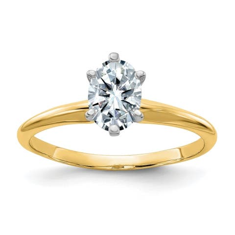Versil 14 Karat Yellow Gold 1.0cttw 7x5mm Oval Colorless Pure Light Moissanite Solitaire Ring