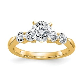 Versil 14 Karat Yellow Gold 1.64ct. 5 Colorless Pure Light Moissanite Ring (5 options available)