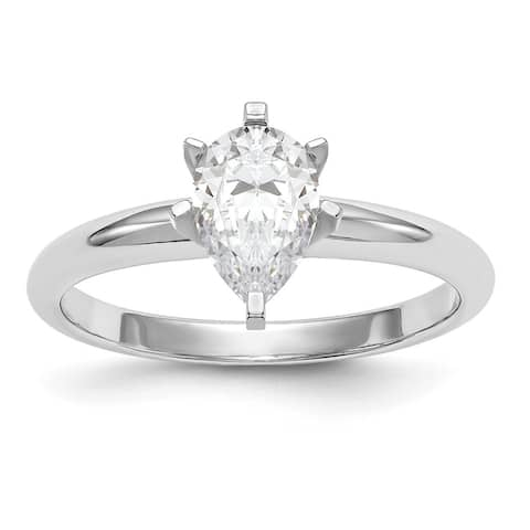 14 Karat White Gold 1.0cttw 8x5mm Pear Colorless Pure Light Moissanite Solitaire Ring by Versil