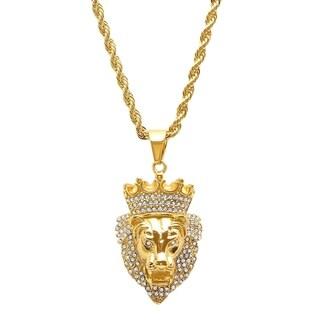 Steeltime Men's Gold Tone Cubic Zirconia Lion with Crown Pendant