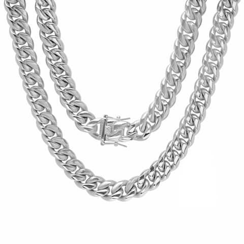 Steeltime Men's Stainless Steel Miami Cuban Chain in 2 Colors