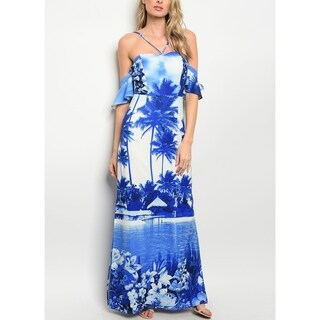 JED Women's Off-Shoulder Halter Maxi Sundress