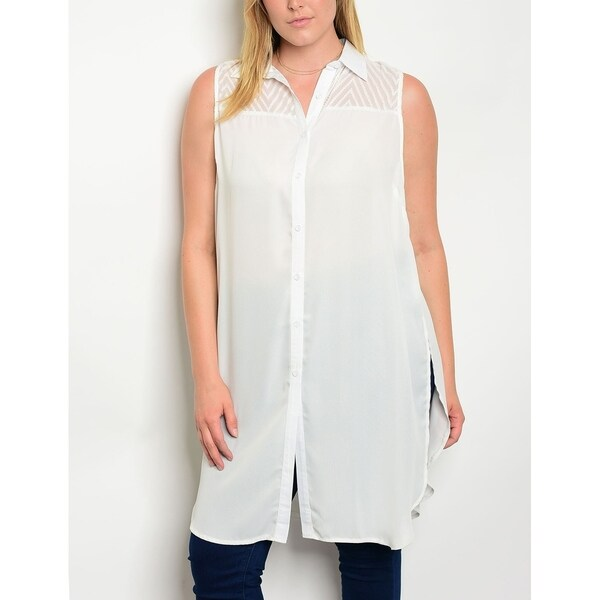 a73a271e3 Shop JED Women's Plus Size Ivory Button Down Tunic Shirt - Free Shipping On  Orders Over $45 - Overstock - 20478926