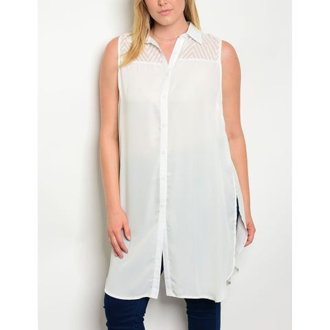 JED Women's Plus Size Ivory Button Down Tunic Shirt