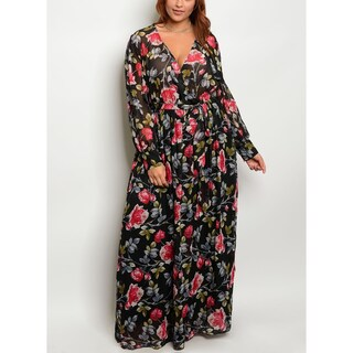 JED Women's Plus Size Floral Long Sleeve Maxi Dress