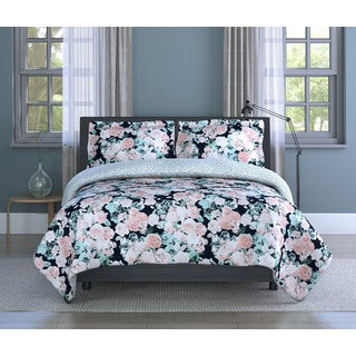 English Garden Floral, Soft Microfiber, Pink/ White Multi, 3-piece Comforter Set Inspired Surroundings by 18888 Mills