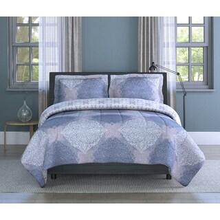 Ava Multi-Color Medallion, Soft Microfiber, Grey/ Multi, Full/ Queen 3-piece Comforter Set Inspired Surroundings by 1888 Mills