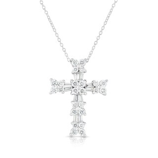 "Noray Designs 14K White Gold Diamond (1.10 Ct, G-H Color, SI2-I1 Clarity) Cross Pendant With 18"" Gold Chain"