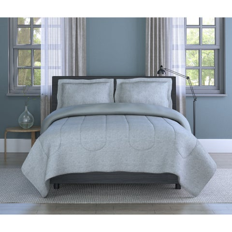 Grid Printed Texture, Soft Microfiber, Grey, 3-piece Comforter Set Inspired Surroundings by 1888 Mills