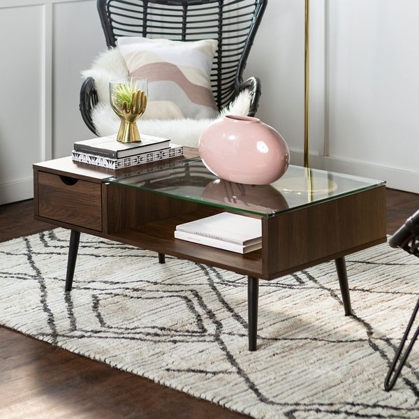 "Shop 42"" Mid-Century Modern Wood And Glass Coffee Table"