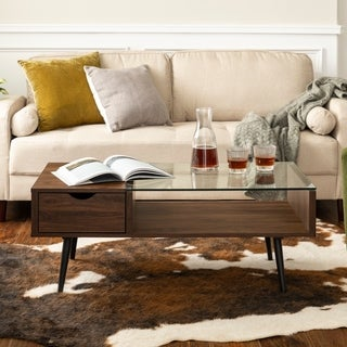 "42"" Mid-Century Modern Wood and Glass Coffee Table - 42 x 22 x 18h"