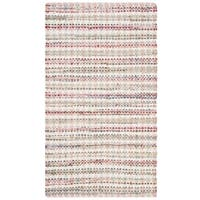 Safavieh Hand-Woven Montauk Contemporary Pink / Multi Cotton Rug (3' x 5') - 3' x 5'