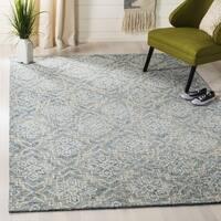 Safavieh Handmade Abstract Contemporary Blue / Grey Wool Rug - 4' x 6'