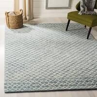 Safavieh Handmade Abstract Contemporary Blue / Ivory Wool Rug - 4' x 6'