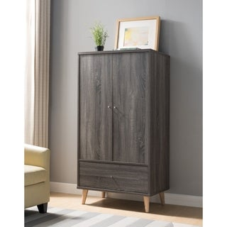 Carson Carrington Gjovik Contemporary Distressed Grey Wardrobe Armoire