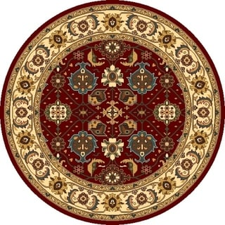 Shiraz 5007 Red/Ivory Mahal - 5' x 5' Round