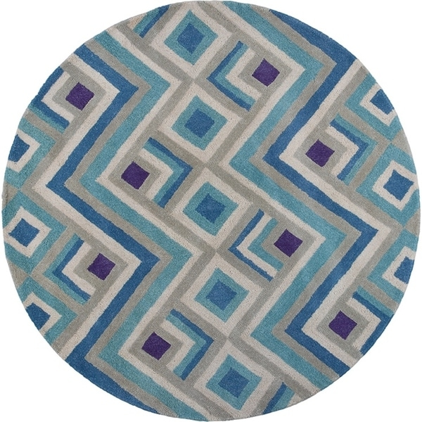 """Donny Osmond Home Harmony 8106 Ivory/Blue Accents 5'6"""" Round - 5'6"""" round"""