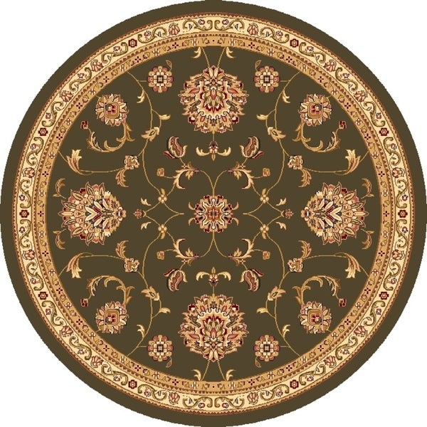 Cambridge 7356 Green Alllover Mahal Area Rug - 7' 7 Octagon