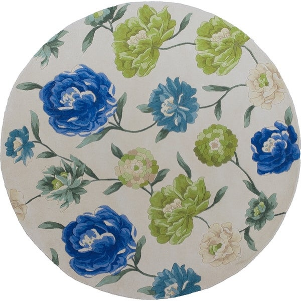 """Catalina 0752 Ivory Floral Oasis 5'6"""" Round - 5'6"""" round"""