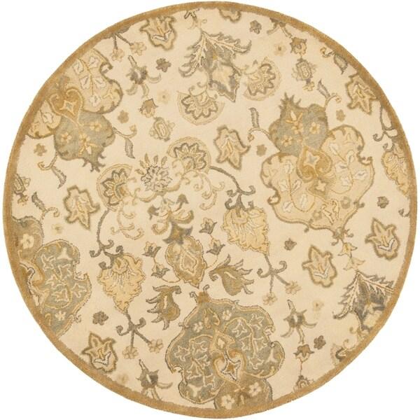 """Syriana 6022 Beige Tapestry 5'6"""" Round - 5'6"""" round"""