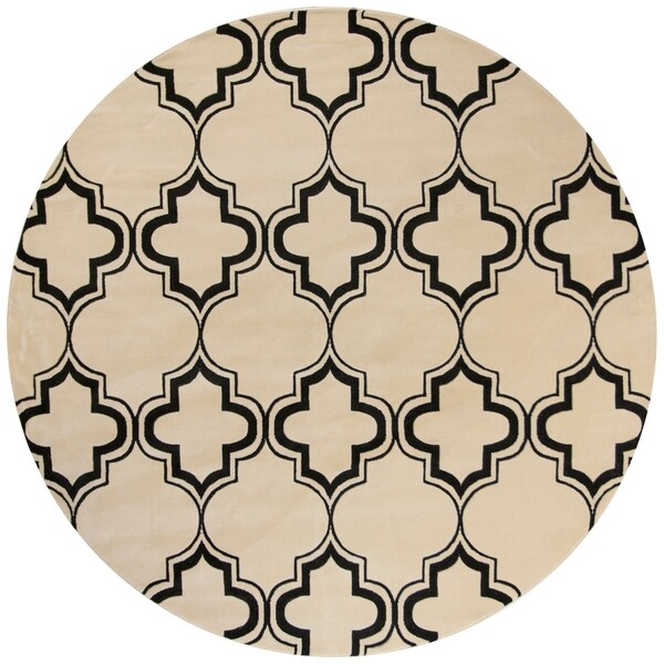 Corinthian 5370 Ivory/Black Arabesque Area Rug - 7' 7 Round
