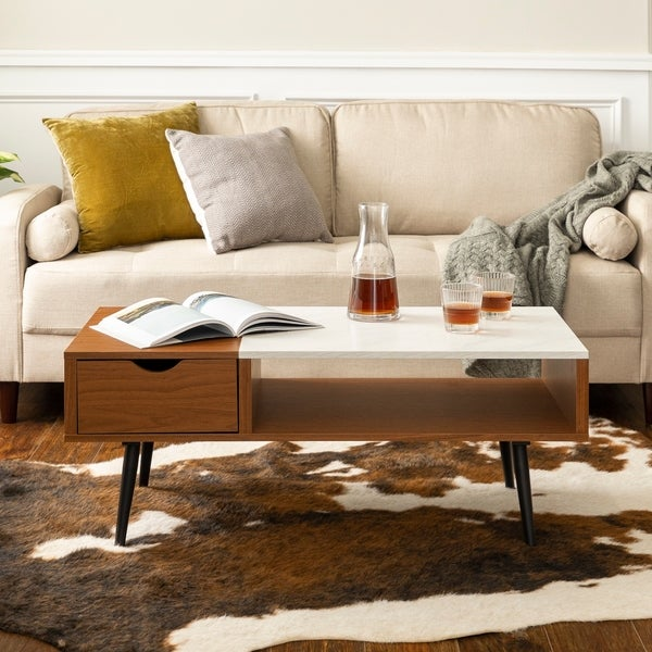 """Adeline Faux Marble Coffee Table: Shop 42"""" Mid-Century Wood And Faux Marble Coffee Table"""