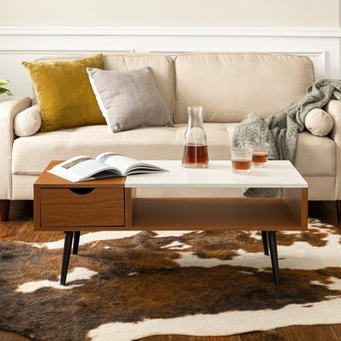 Mid-Century Modern 42-inch Wood and Faux Marble Coffee Table