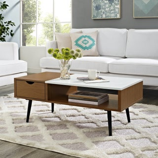 Mid-Century Modern 42-inch Wood and Faux Marble Coffee Table (Option: Wood Finish - Pecan)