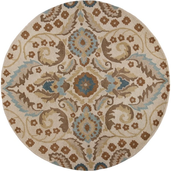 "Donny Osmond Home Harmony 8113 Sand Tapestry 5'6"" Round - 5'6"" round"
