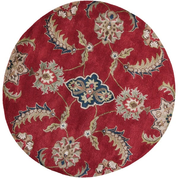 KAS Rugs Florence Ruby Viscose/Wool Round Mahal Floral Area Rug - 5' Round