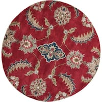 Florence 4587 Ruby Allover Mahal 5' x 5' Round - 5' x 5' round
