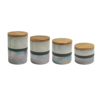 abingdon creme/silver 4 pc canister set, reshipper box