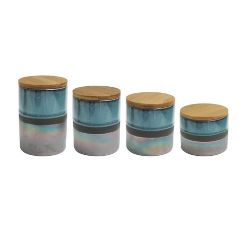 abingdon green/silver 4 pc canister set, reshipper box