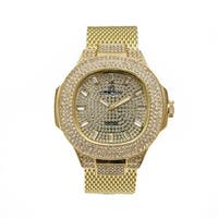 Men Over-Sized Mens Mesh Bling Bling Hip Hop fully Rhinestones studded dial with Rhinestones hitched watch -