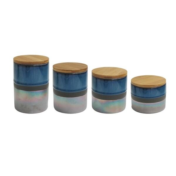 abingdon blue/silver 4 pc canister set, reshipper box