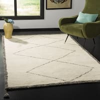 Safavieh Handmade Casablanca Contemporary Ivory / Charcoal Wool Rug (5' x 8') - 5' x 8'