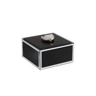 """trinket box black w/agate white w/silver,4.7x4.7x2.6"""""""