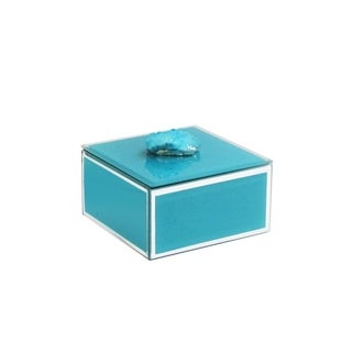 trinket box blue w/agate dark blue