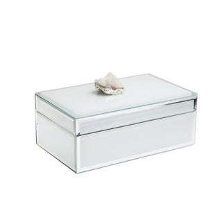 """trinket box white w/white agate w/silver 8.25x5.1x3.15"""""""