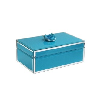 trinket box blue w/dark blue agate w/silver