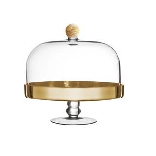 "gold medley pedestal plate w/dome 11.4x11.4"""