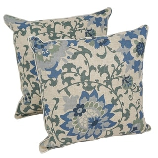 Blazing Needles Blue Floral 17-inch Throw Pillow (Set of 2)