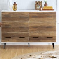 "52"" Reclaimed 6-Drawer Dresser - White / Rustic Oak"