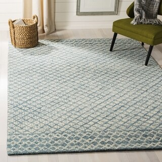 Safavieh Handmade Abstract Contemporary Blue / Ivory Wool Rug - 8' x 10'