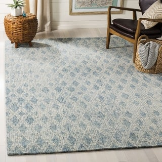 Safavieh Handmade Abstract Contemporary Ivory / Blue Wool Rug - 8' x 10'