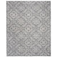 Safavieh Handmade Abstract Contemporary Grey / Ivory Wool Rug (8' x 10') - 8' x 10'
