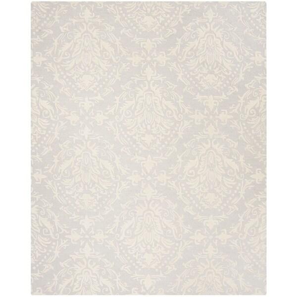 Safavieh Handmade Blossom Contemporary Light Grey / Ivory Wool Rug - 8' x 10'