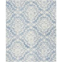 Safavieh Handmade Blossom Contemporary Blue / Ivory Wool Rug - 8' x 10'
